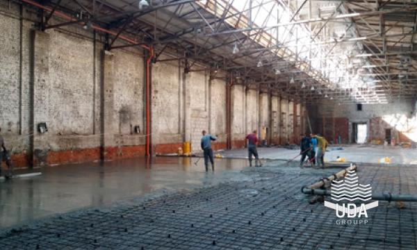 Промышленный пол топпинг портфолио строительной компании ЮДА групп Харьков